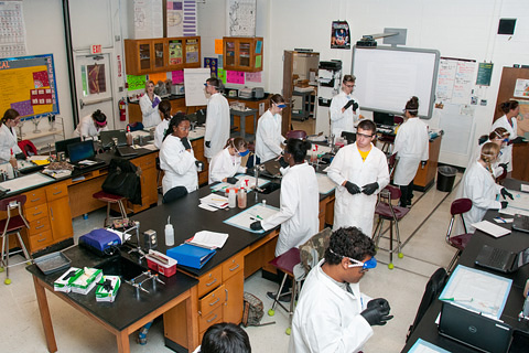 Students in a lab.