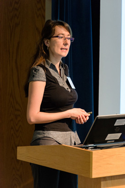 Joanna Sztuba-Solinska, NCI, presenting at the the Research Collaboration Forum, sponsored by the National Interagency Confederation for Biological Research, on May 5.