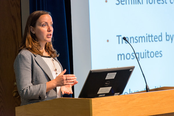 Elizabeth Andrews, U.S. Army Medical Research Institute for Infectious Diseases, presenting at the the Research Collaboration Forum, sponsored by the National Interagency Confederation for Biological Research, on May 5