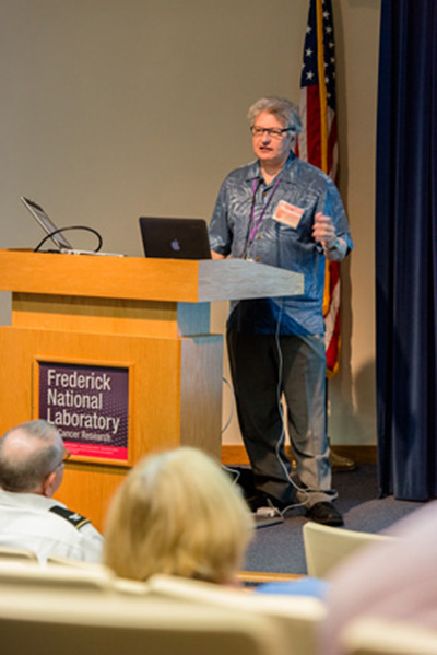 Bert Gold, NCI, presenting at the the Research Collaboration Forum, sponsored by the National Interagency Confederation for Biological Research, on May 5.