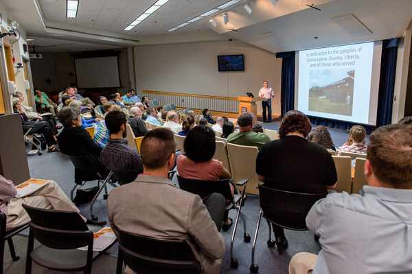 Luis Branco, Zalgen Labs, presenting at the Ebola Virus Mini Symposium, sponsored by the National Interagency Confederation for Biological Research, held May 5.