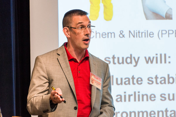 James Noah, National Biodefense Analysis and Countermeasures Center, presenting at the Ebola Virus Mini Symposium, sponsored by the National Interagency Confederation for Biological Research, held May 5.