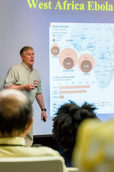 Randy Shoepp, U.S. Army Medical Research Institute for Infectious Diseases, presenting at the Ebola Virus Mini Symposium, sponsored by the National Interagency Confederation for Biological Research, held May 5.