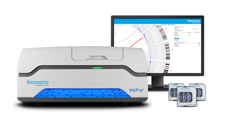 The Bionano Genomics Saphyr, pictured alongside its accompanying Saphyr Chips and software. (Image courtesy of Bionano Genomics)