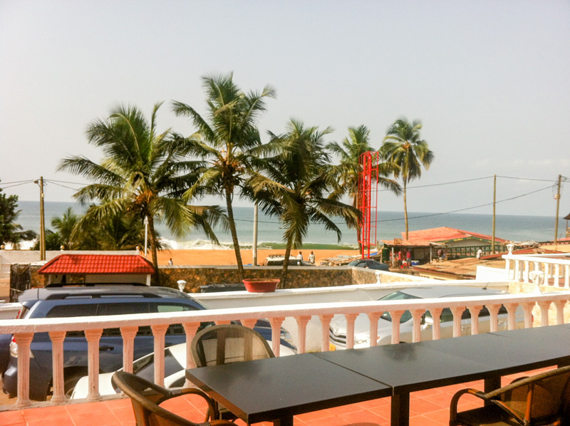 A view of the ocean from Cape Hotel in Monrovia, Liberia. Photo courtesy of Helene Highbarger, ADRD.