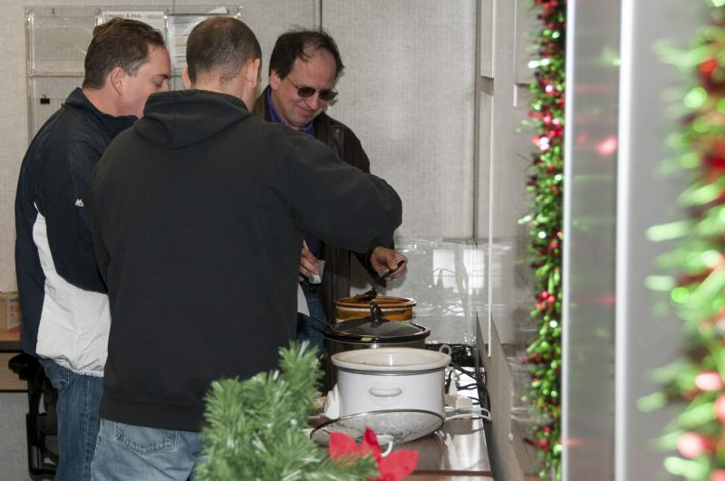 lined up for chili