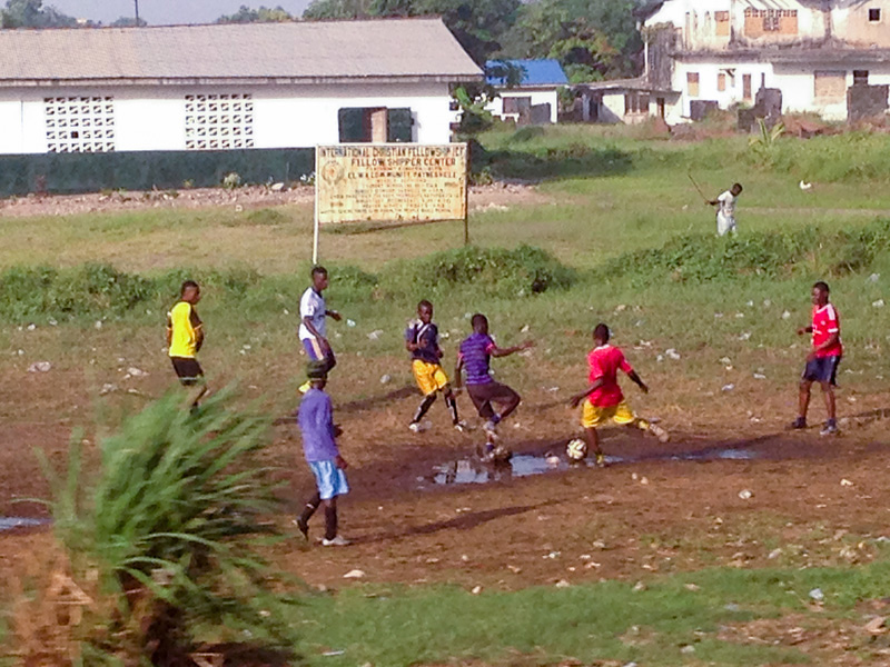Soccer is a popular sport in Liberia and is enjoyed by many of the locals. Photo courtesy of Beth Baseler, CMRP.