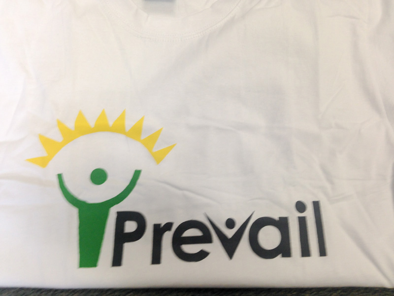 T-shirts and flyers were made with the PREVAIL logo. Photo courtesy of Beth Baseler, CMRP.