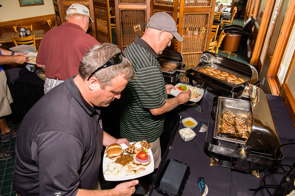 Players helping themselves to the buffet.