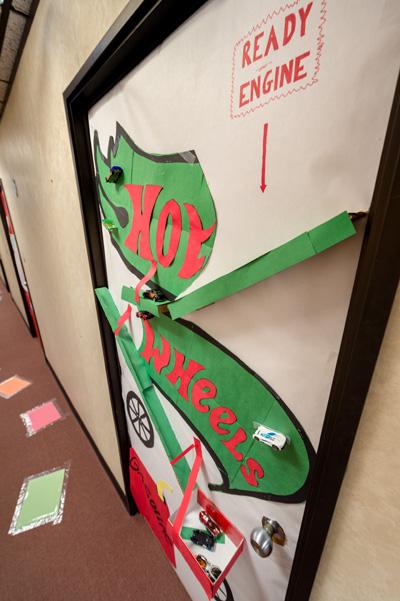"""The Hot Wheels door in Building 430's """"Toyland"""""""