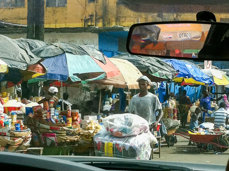 A marketplace in Monrovia, Liberia. Photo courtesy of Helene Highbarger, ADRD.