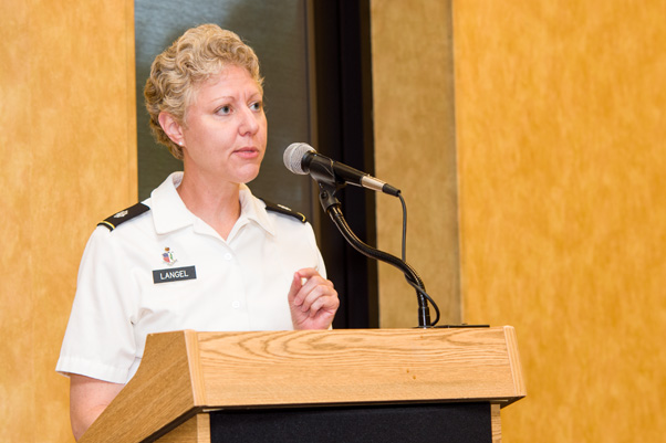 Lt. Col. Felicia Langel, Medical Research and Materiel Command, U.S. Army Medical Research and Materiel Command, presents at the Spring Research Festival awards ceremony.