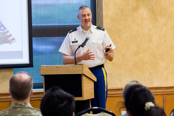 """Col. Stephen J. Thomas, M.D., gave the keynote speech, """"Developing Medical Countermeasures Against Emerging Infectious Diseases."""""""