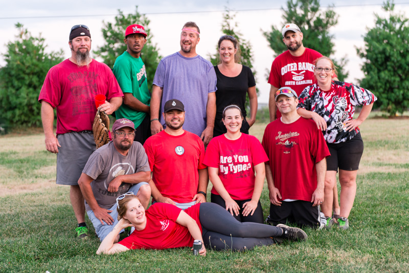 Red team, from left, back row: Brad Leggett, Ricky Cregger, Doug Leggett, Kim McLean, and J.P. Denson; front row: Ron Boaze, Shawn Wirth, Stephanie Mellott, Andrew Waters, and Deb Householder; front: Kayla Hickox.