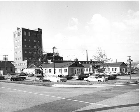 Black-and-white photo of several FCRC buildings in the early 1970s
