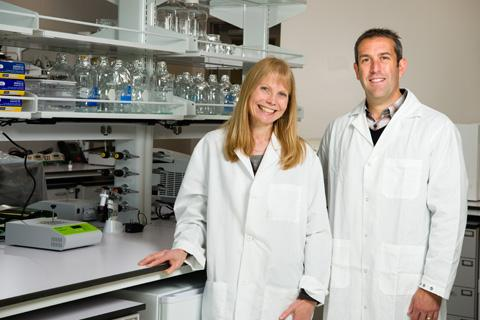 John Brognard, Ph.D., (right) pictured with Katherine Nyswaner, research biologist (left).