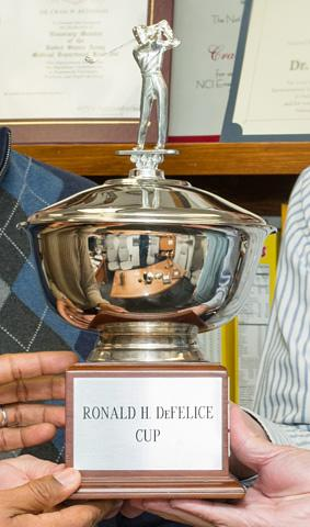 Close up of Defelice trophy