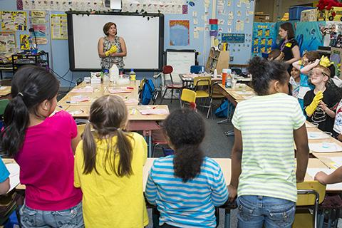 Elementary Outreach Program volunteers teach a class at Walkersville Elementary School.