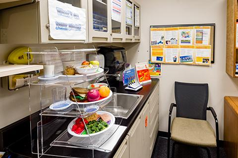 A display about healthy eating in the health-themed room