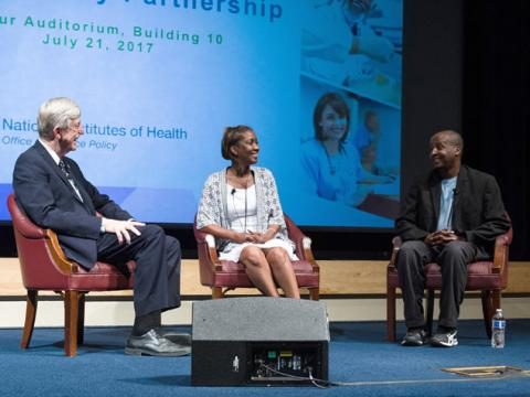 From left to right: NIH Director Francis S. Collins, Ph.D., M.D.; Jeri Lacks-Whye; and David Lacks, Jr.
