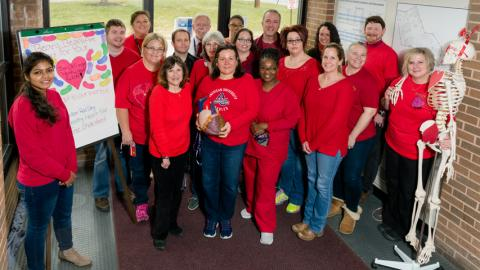 "Folks wearing red for ""Go Red for Women."""