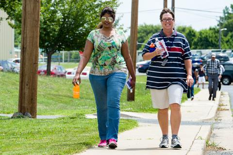 Two walkers enjoy the Take a Hike event.