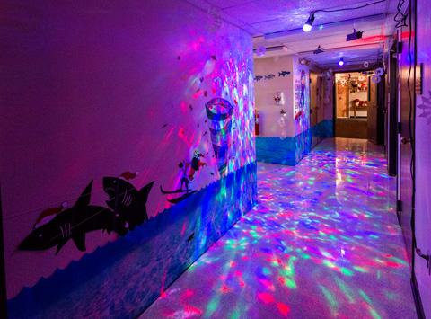 """Photo of the entryway to DMS' """"A Sharknado Christmas!"""""""