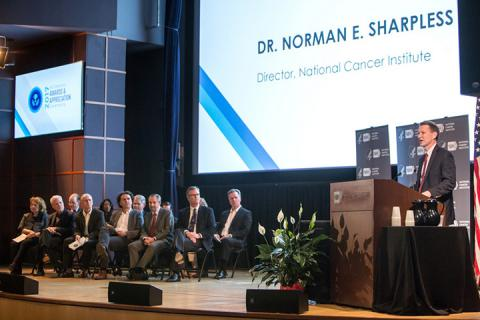 NCI Director Dr. Norman E. Sharpless says a few words at the NCI Director's Awards & Appreciation Ceremony.