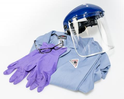Safety gloves, lab coat and eye shield.