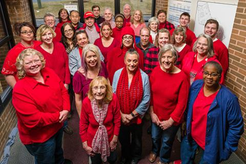 Employees decked out in red for National Wear Red Day.