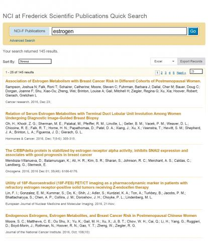 A sample search result from the scientific publications database.