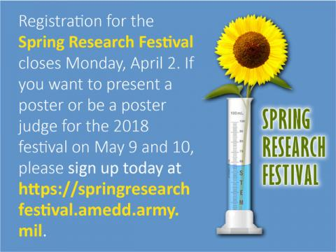The Spring Research Festival will be held on May 9th and 10th.