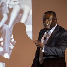 Dr. Bennet Omalu speaking at NCI at Frederick.