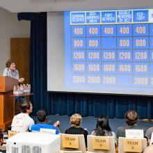 Interns answer a final jeopardy question.