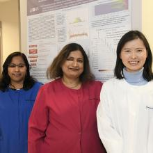 Photograph of Jyoti Shetty, Monika Mehta, and Yongmei Zhao in the Sequencing Facility.