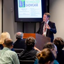 Frederick County Executive Jan Gardner speaks at the 2018 Technology Showcase at the Frederick National Laboratory.