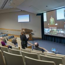 NCI at Frederick's Building 549 auditorium watching the town hall