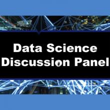 A graphic advertising the data science discussion panel.