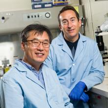 Two scientists in the lab. Doctor Cho is on left and Doctor Daar is on right.