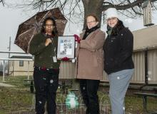 Robin Dewar, Helene Highbarger, and Andrea Frydl next to the frog statue