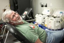 Man donating blood.