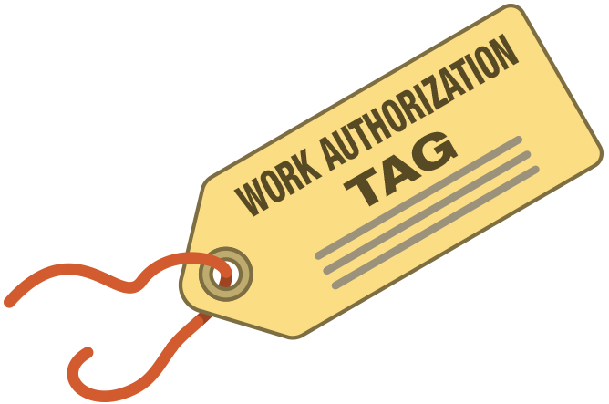 Image of work authorization tag. Click to access the decontamination policy.